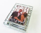 Stained Glass Keepsake Beveled Memory Box 7x9x2 Engagement Picture Wedding Invitation Bride Groom Photograph Bridal Shower Gift Custom Made
