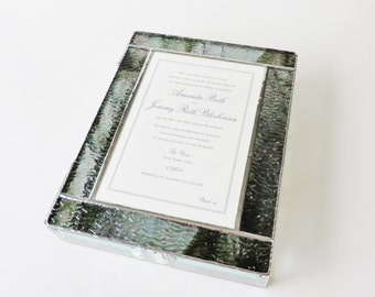 Elegant Stained Glass Wedding Invitation Keepsake Box Engagement Picture Bride Groom Bridal Shower Gift 50th Anniversary Gift Made-to-Order