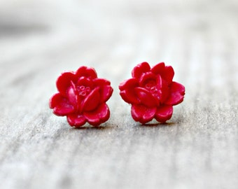 Titanium Flower Earrings, Poppy Red Rosettes on Hypoallergenic Titanium Posts/Studs