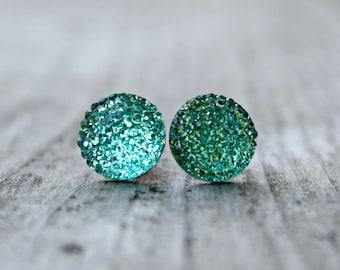 Titanium Post Earrings, Aqua Sparkle Pave Rhinestone, Hypoallergenic