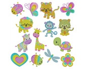 PASTEL ANIMALS - Machine Embroidery - Instant Digital Download