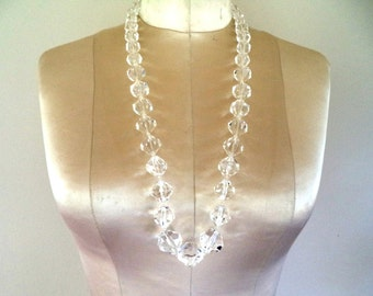 Miriam Haskell Clear Lucite Bead Necklace Earrings Set Signed
