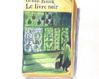 Book cover Orhan Pamuk color pencil drawing/ book drawing
