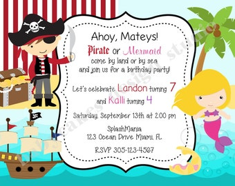 Pirate and MERMAID Birthday Party Invitation Invite sibling boy girl Pirate Mermaid invitation inviteprintable DIY Digital