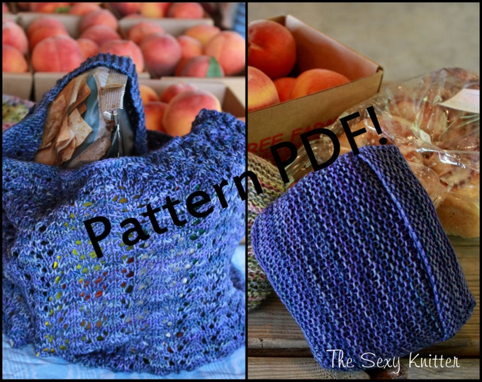 February Market Lace Reusable Bag: PDF Knitting Pattern by The Sexy Knitter