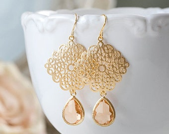 Peach Glass Teardrop Gold Filigree Dangle Earrings Chandelier Earrings Peach Champagne Wedding Jewelry Bridesmaid gift valentines day gift