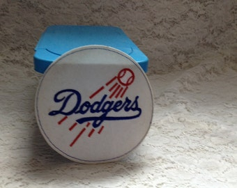 NOS Dodgers MLB Patch Baseball Shaped Iron or Sew On Collectibles Souveniers Memorabelia  Sports All Everything Else Red White Blue
