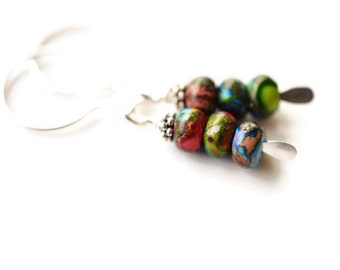 Sea Sediment Jasper Earrings, Silver Filled Earrings, Colorful Earrings, Rainbow Jasper Earrings, Jasper & Pyrite