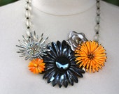 Reclaimed Vintage Necklace, Statement Necklace, Vintage Necklace, Vintage Enamel Flowers, Silver, Black, Orange - Princeton Bound