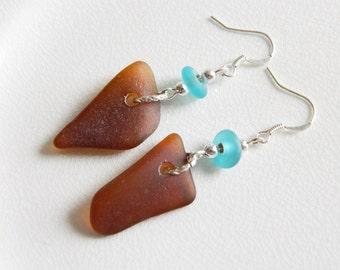 Sterling Silver Seaglass Dangle Earrings - Amber Brown Genuine Sea Glass Jewelry - Aqua Recycled Glass Beads - Chesapeake Bay Beach Glass