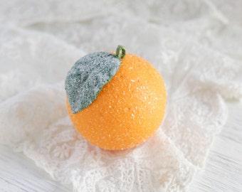 Spun Cotton Orange Victorian-Style Fruit Christmas Ornaments