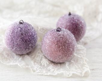 Spun Cotton Sugar Plums - Victorian-Style Christmas Ornaments, Set of 3