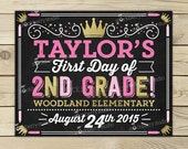 First Day of School Chalkboard Sign Printable - Girl Princess 1st Day of School Sign - Pink 1st Day of School Chalkboard - Back to School