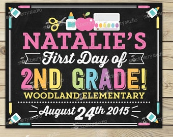 First Day of 2nd Grade Sign Printable - Girl 1st Day of 2nd Grade Sign - 1st Day of School Chalkboard - Back to School - Personalized Sign