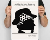 "Literary Art Print, ""Oscar Wilde"" Large Wall Art Posters, Literary Quote Poster, Illustration, Minimalist Prints, Bookish Gift for Writer"