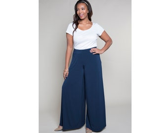 Wide Leg Matte Jersey Pants Misses & Plus Sizes 2-28