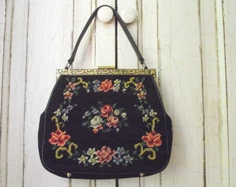 Floral Needlepoint Purse , Vintage 50s Needle Point Handbag , Black and Floral Purse , Women's Handbag , Vintage Retro Fashion