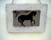 Equestrian Horse Silhouette Antiqued Mirror in Distressed Barn Red Rustic Frame Country Chic Cottage Farm Ranch Stallion Horseback Western