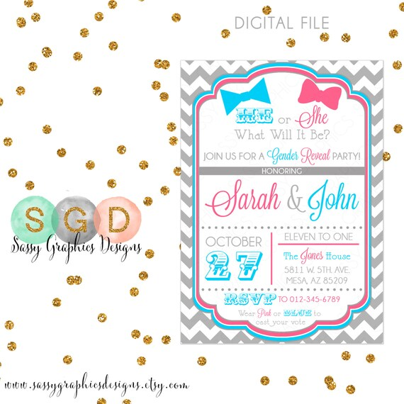 Gender Reveal Party Invitation - Baby Shower Invite He Or She Boy Or Girl Pink Blue Chevron Bowtie DIY Printable Invite PDF (Item #1)