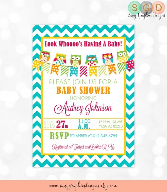 owl baby shower invitation digital invite girl baby shower invite