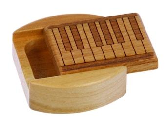 "DISCONTINUED - REDUCED PRICEPiano Keyboard Pattern Sliding Lid Storage Box, 1-3/4""L x 1-7/8""W x 3/4""D, Solid Cherry, Paul Szewc"
