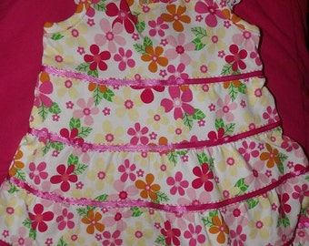 6 to 9 months knit three tiered clolorful floral sundress & panties - k010a