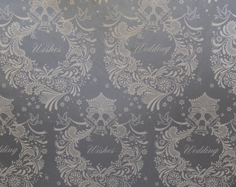 Vintage Silver Wedding Wishes Wreath Bridal Gift Wrap Wrapping Paper