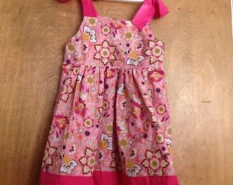 Girls Boutique Dress SAMPLE SALE Hot pink flowers size 5