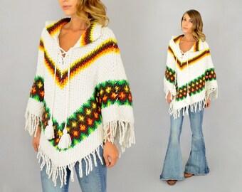 70's Chevron Knit Poncho