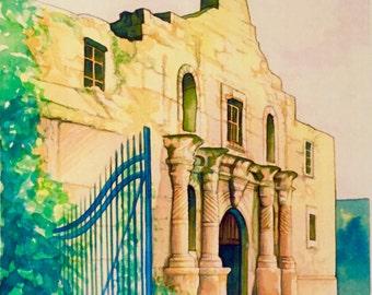 The Alamo Southwest Texas watercolor digital print