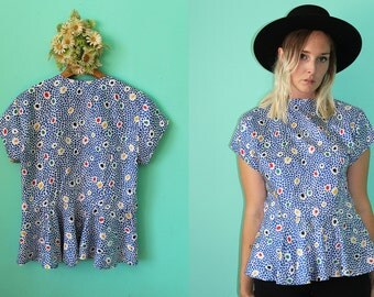 Vintage VTG VG 1980's Dotted Blouse Retro Hipster Buttons Up Back Blue and White Watercolor Lightweight Short Sleeved Women's Medium