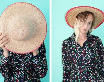 Vintage VTG VG 1970's Summer Woven Straw Hat with Pink Trim Women's Sun Hat