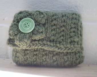 Hand Knitted Coin Purse, Green Change Purse with Flower Decoration
