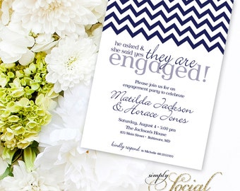 Chevron Engagement Party Invitation