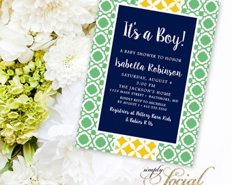 It's a Boy! Preppy Navy, Green and Yellow Baby Shower Invitation Printable