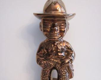 Vintage Moyer - Cowboy Legend Tom Mix - Metallic Copper Color Ceramic Statue