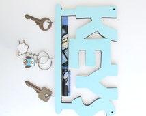 Key hook aqua and white wall key holder, decorative key hook, decorative wall hook, wall hook