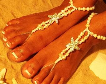 Happi Feet, Starfish & freshwater pearls barefoot sandals, destination wedding shoes, beach barefoot sandals The Caribbean HF111