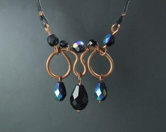 Black necklace, copper necklace, glass jewelry, drop necklace, black jewelry