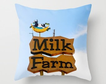 Milk Farm Neon Sign Pillow Cover | Mid Century Modern Home Decor