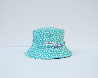 Baby Sun Hat Reversible sunhat - feathered flight in teal