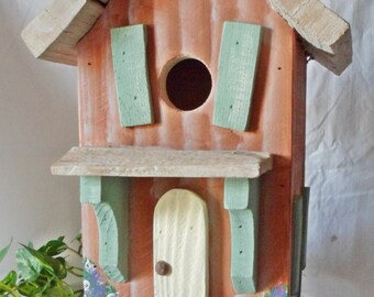 Handcrafted Tw0-Story Cottage Birdhouse   - Terra Cotta with Ivory roof - free shipping