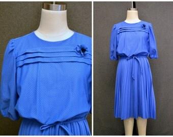 1980s Black and Blue Polka Dot Dress