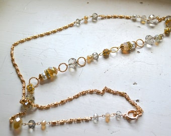 Long Asymmetrical Bead and Chain Necklace