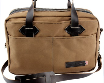 Classic Travel Briefcase - Water Resistant Roomy Cotton Duck - Brown - Made in America