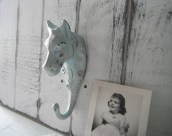 coat hook wall hook shabby chic antiqued hook french country rustic decor aged hook farmhouse BLUE hook cottage chic