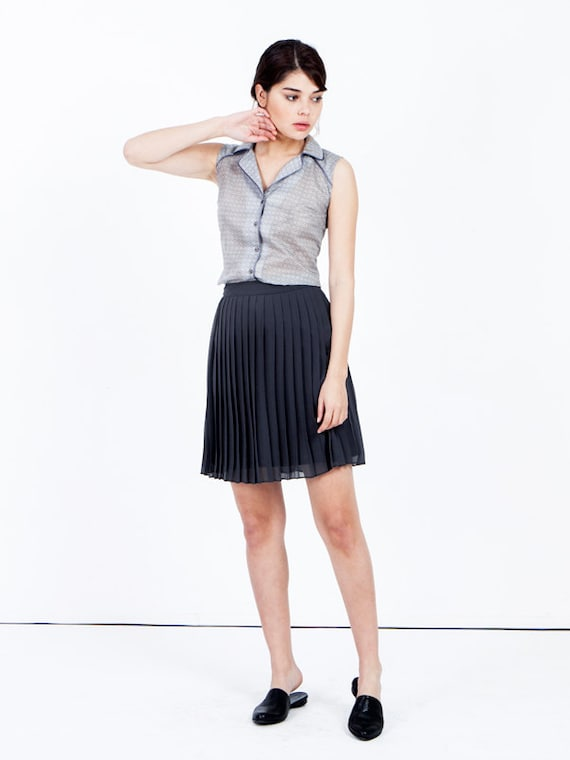 Dark gray pleated skirt chiffon skirt knee length skirt