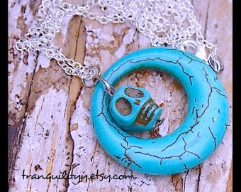 Skull Necklace ,  Day of the Dead Focal Turquoise Necklace,   , Hipster, Scene, Emo, Gothic, By: Tranquilityy