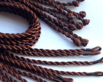 20 BROWN NECKLACE CORDS.  18 inch Loop and Knot, Satin Twist Cord.  Ships from Canada.
