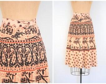 vintage 70s hippie wrap skirt - India cotton / Bohemian - paisley block print skirt / 60s . 1970s - festival skirt